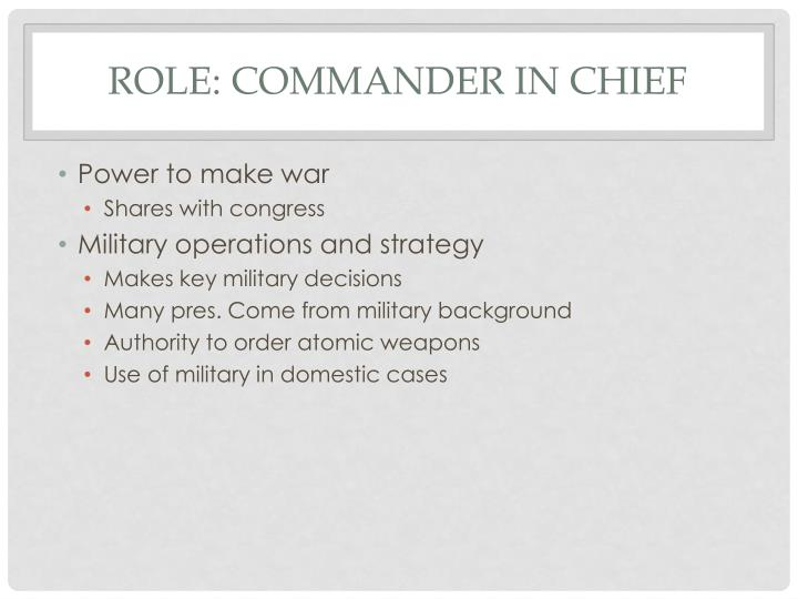 Role: Commander in Chief