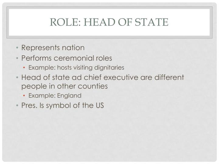 Role: Head of State