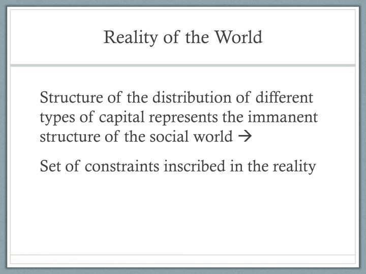 Reality of the World