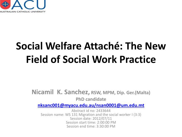 social welfare attach the new field of social work practice n.