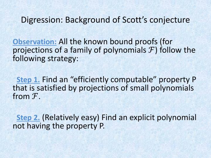 Digression: Background of Scott's conjecture