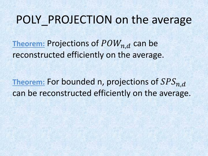 POLY_PROJECTION on the average