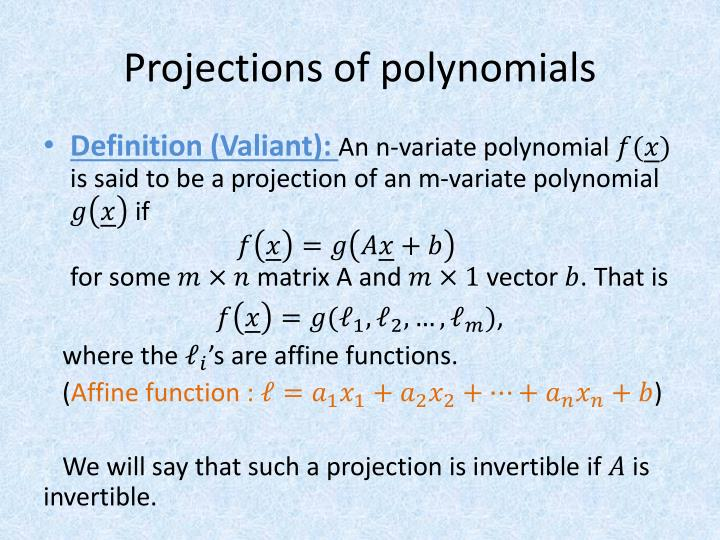 Projections of polynomials