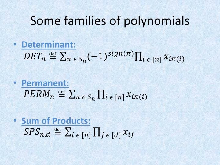 Some families of polynomials