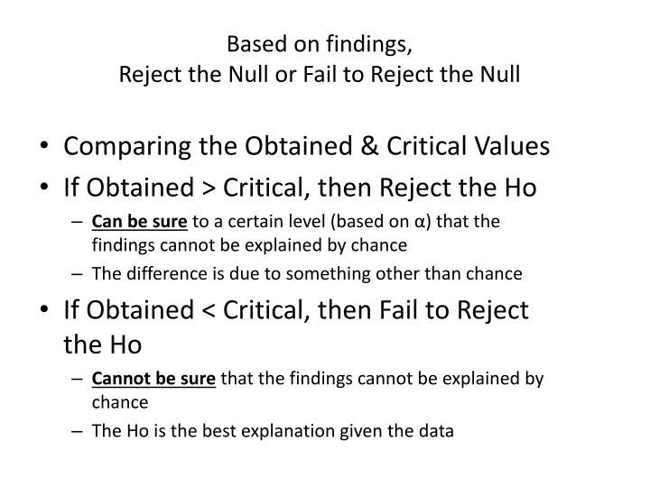 Based on findings reject the null or fail to reject the null