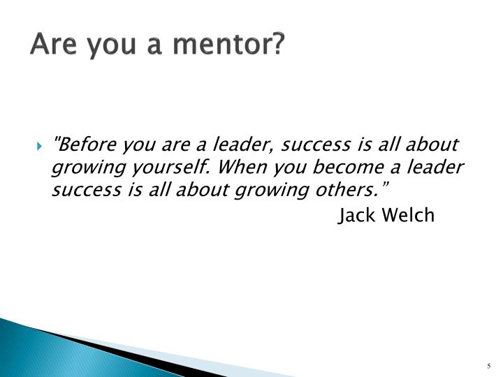 Are you a mentor?