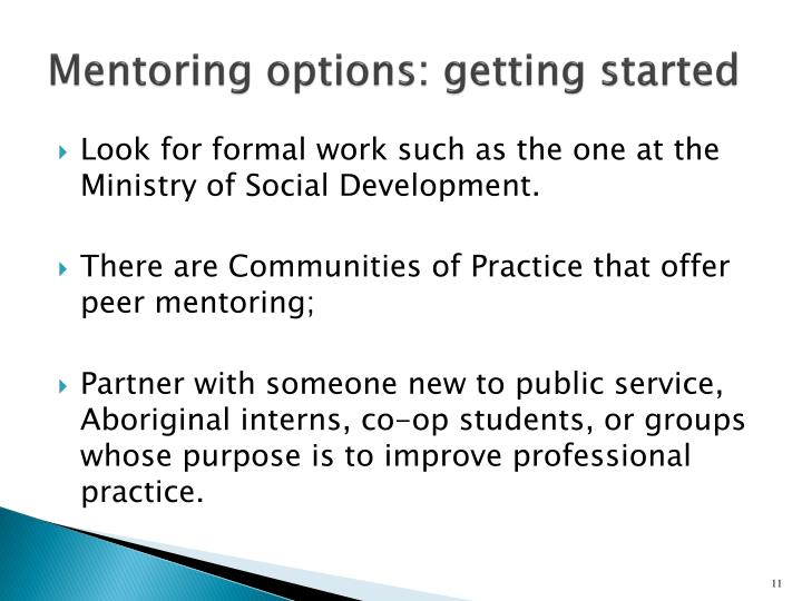 Mentoring options: getting started