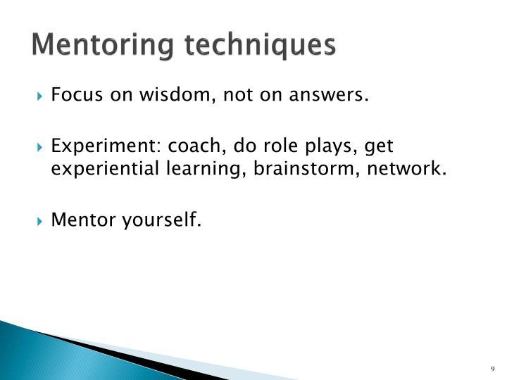 Mentoring techniques