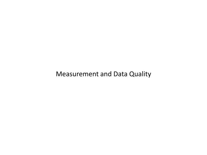 measurement and data quality n.