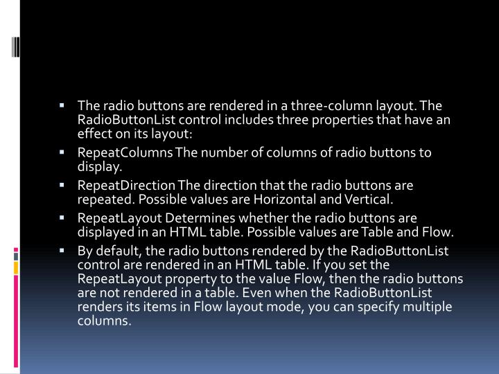 The radio buttons are rendered in a three-column layout. The