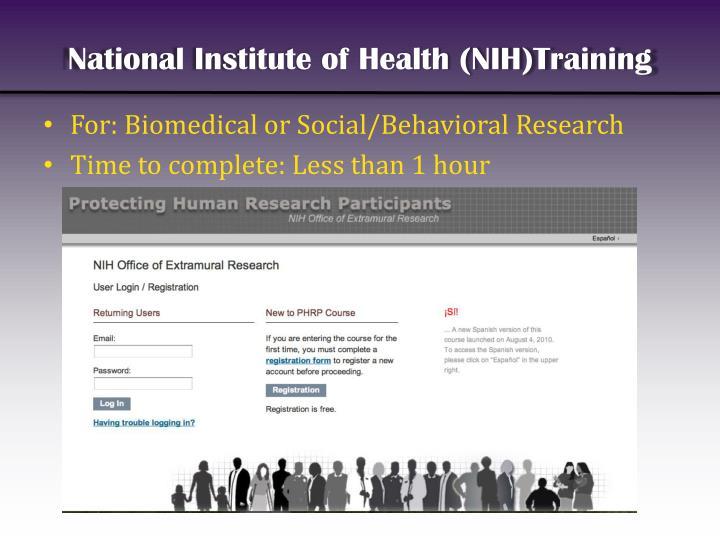 National Institute of Health (NIH)Training