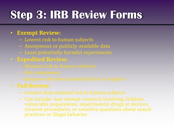Step 3: IRB Review Forms