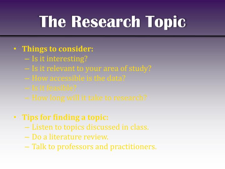 The research topic