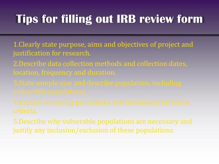 Tips for filling out IRB review form