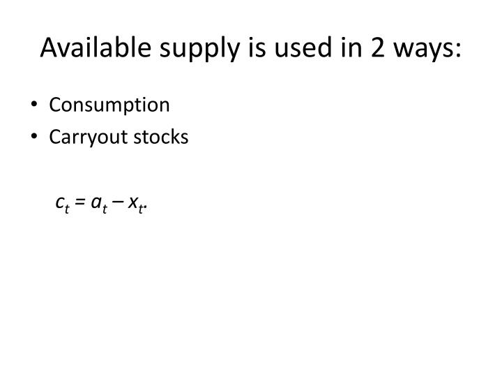 Available supply is used in 2 ways: