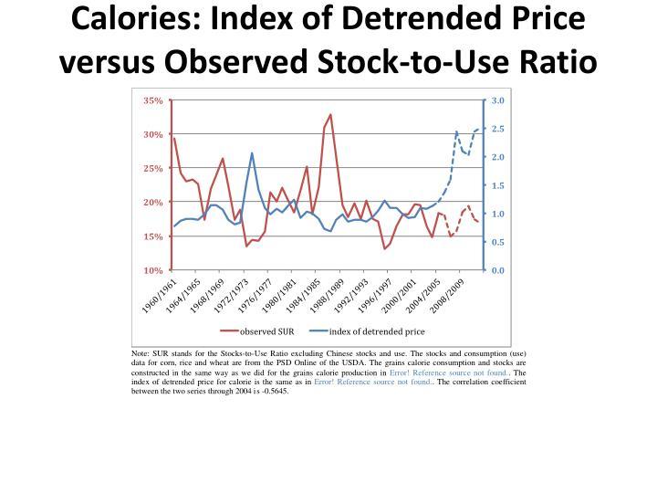 Calories: Index of