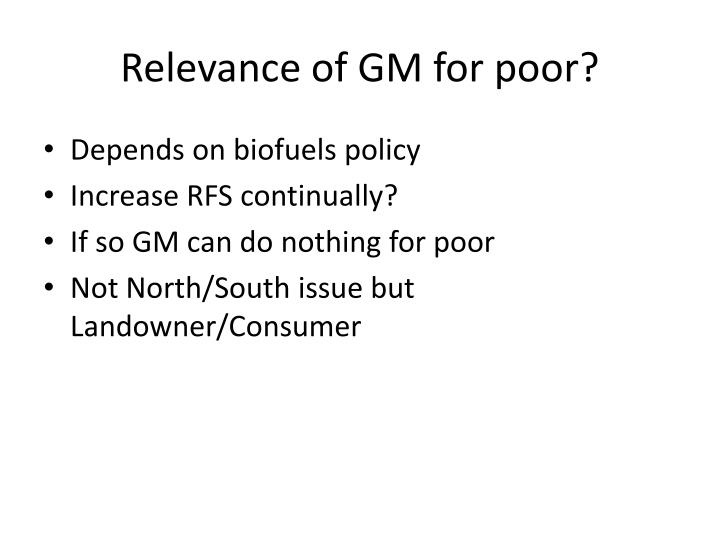 Relevance of GM for poor?