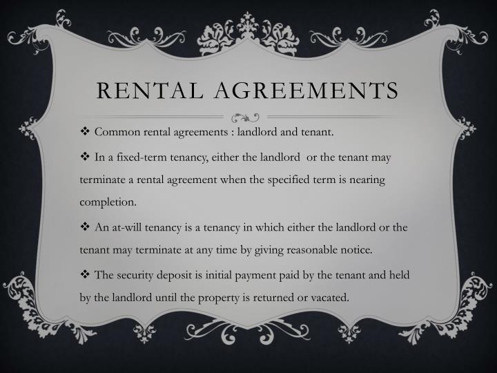 Rental agreements