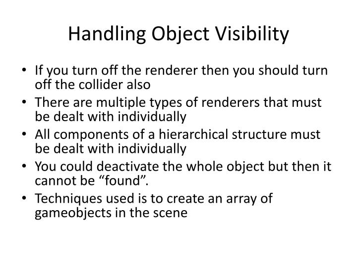 Handling object visibility