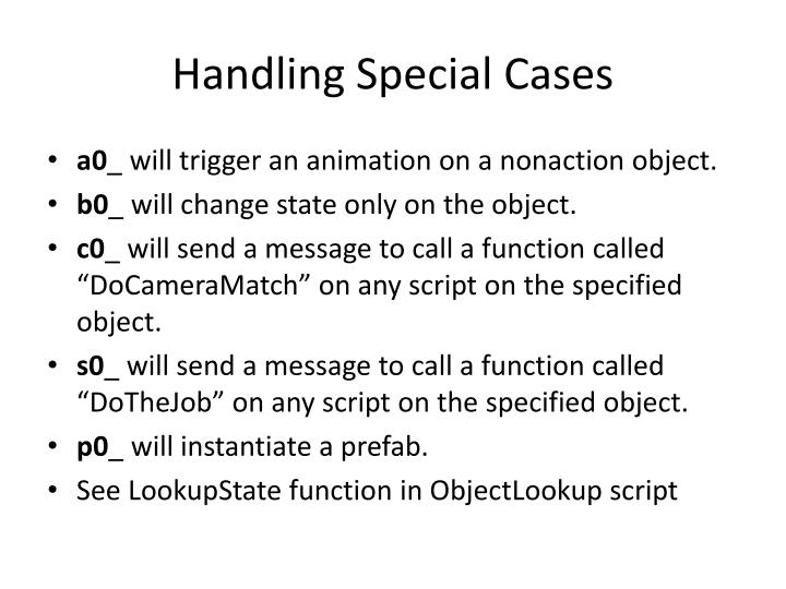 Handling Special Cases