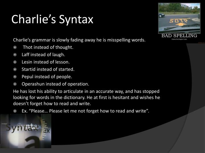 Charlie's Syntax