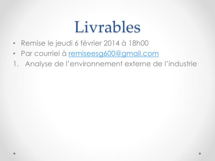 Livrables