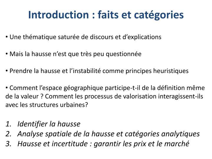 Introduction faits et cat gories