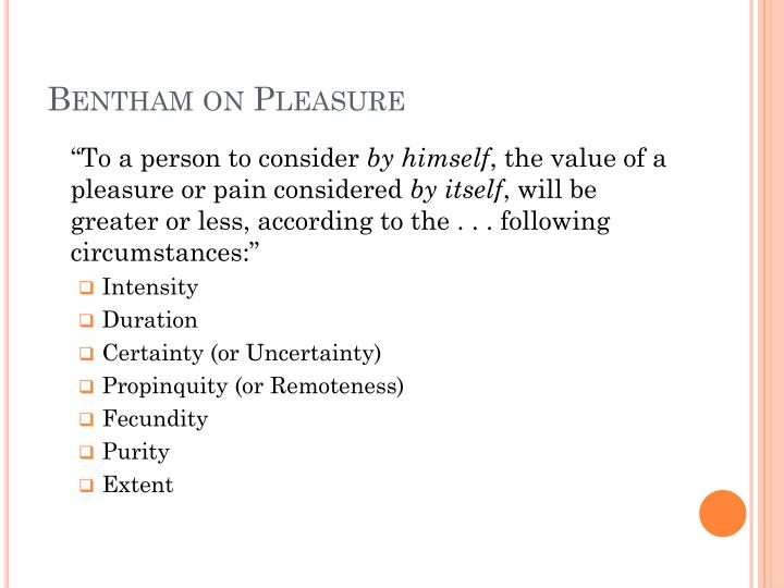 Bentham on pleasure