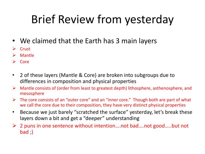 brief review from yesterday n.