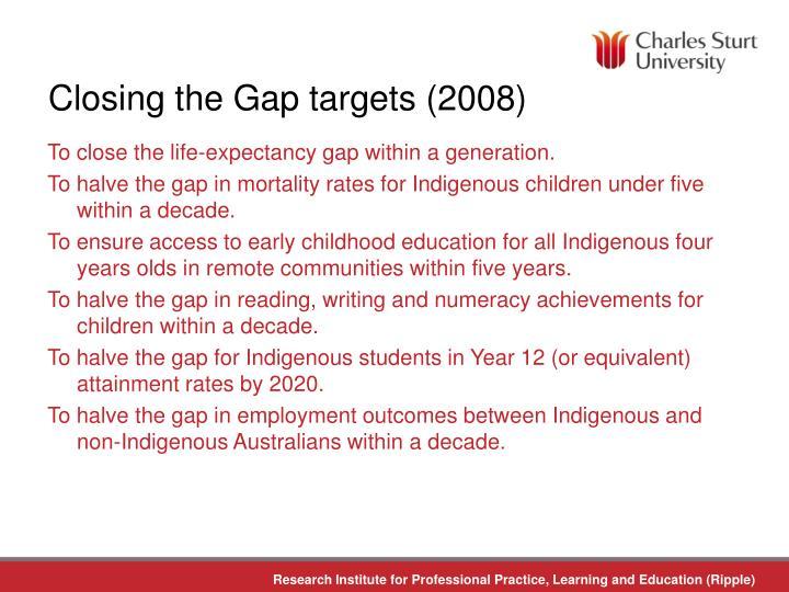 Closing the Gap targets (2008)