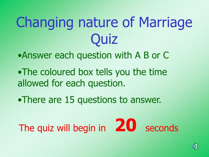 PPT - Changing nature of Marriage Quiz PowerPoint