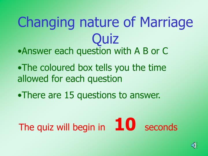 Changing nature of Marriage Quiz