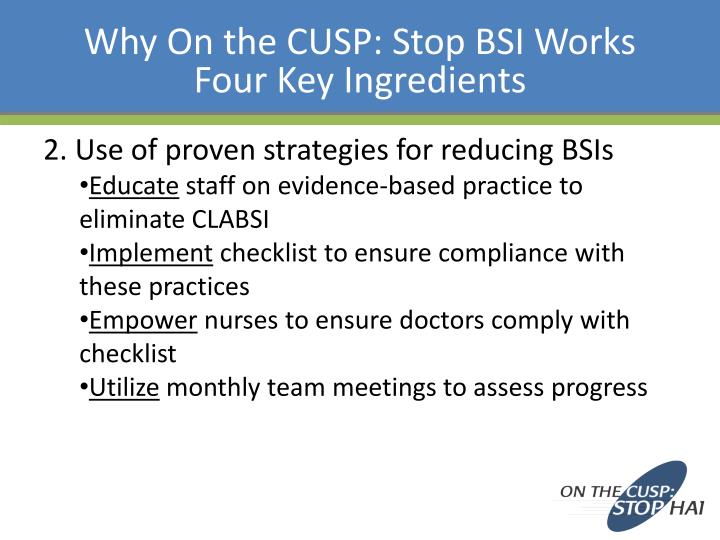 Why On the CUSP: Stop BSI Works