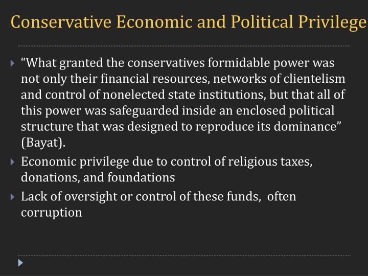 Conservative Economic and Political Privilege