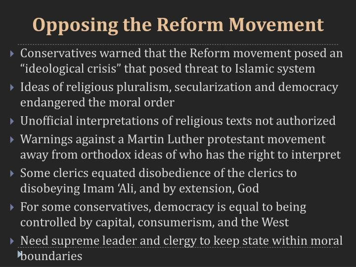 Opposing the Reform Movement