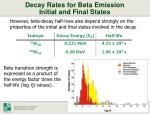 decay rates for beta emission initial and final states