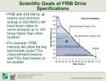scientific goals of frib drive specifications