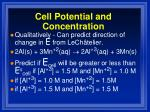 cell potential and concentration
