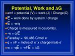 potential work and d g