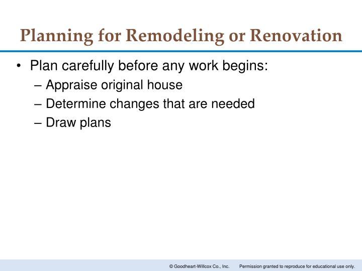 Planning for Remodeling or Renovation