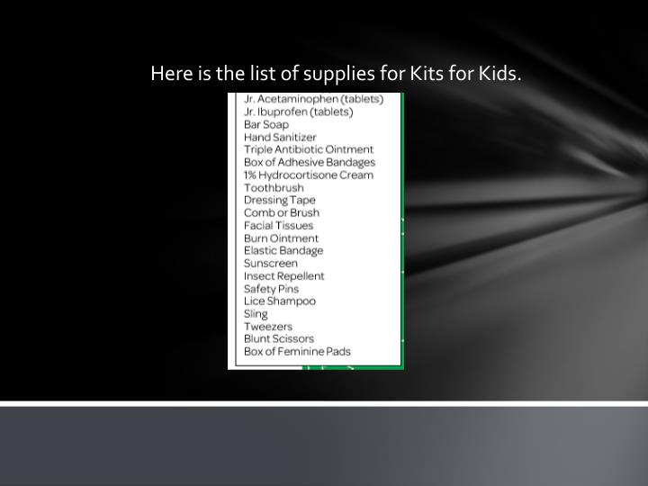 Here is the list of supplies for Kits for Kids.