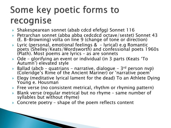 Some key poetic forms to recognise