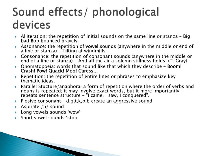 Sound effects/ phonological devices
