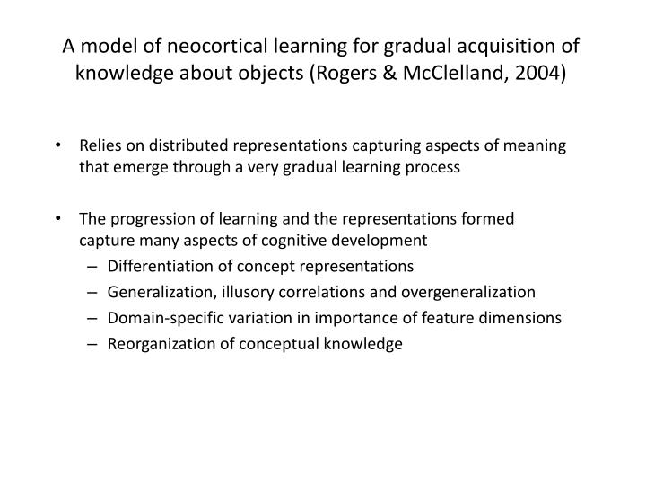 A model of neocortical learning for gradual acquisition of knowledge about objects (Rogers & McClelland, 2004)