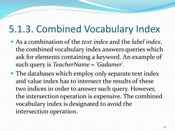 5.1.3. Combined Vocabulary Index