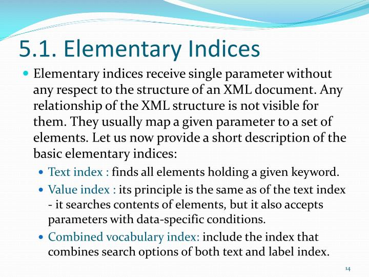 5.1. Elementary Indices