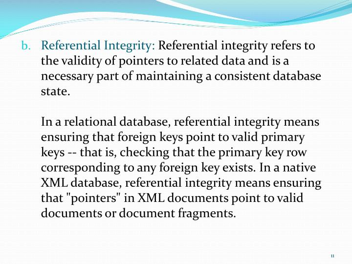 Referential Integrity: