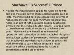 machiavelli s successful prince