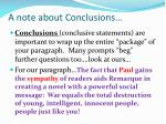 a note about conclusions