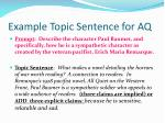 example topic sentence for aq
